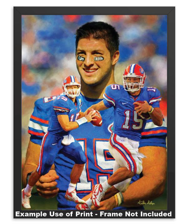Tim Tebow Florida Gators College Football NCAA QB Quarterback  in simple black frame