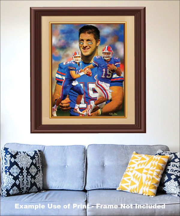 Tim Tebow Florida Gators College Football NCAA QB Quarterback matted and framed on the wall with blue couch