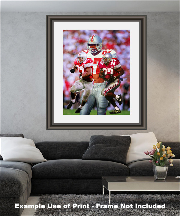 Ohio State Buckeyes Eddie George Running Back matted and framed on wall in modern living room