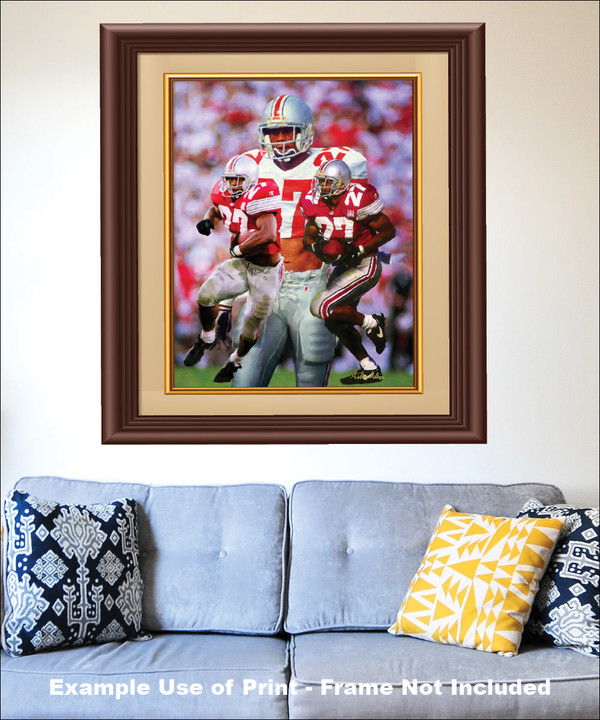 Ohio State Buckeyes Eddie George Running Back matted and framed on the wall with blue couch