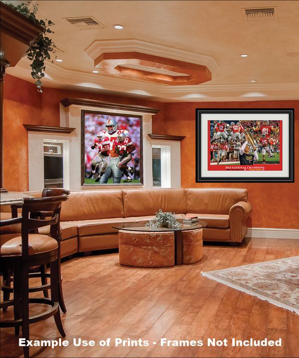 Ohio State Buckeyes Eddie George Running Back framed on wall in family game room