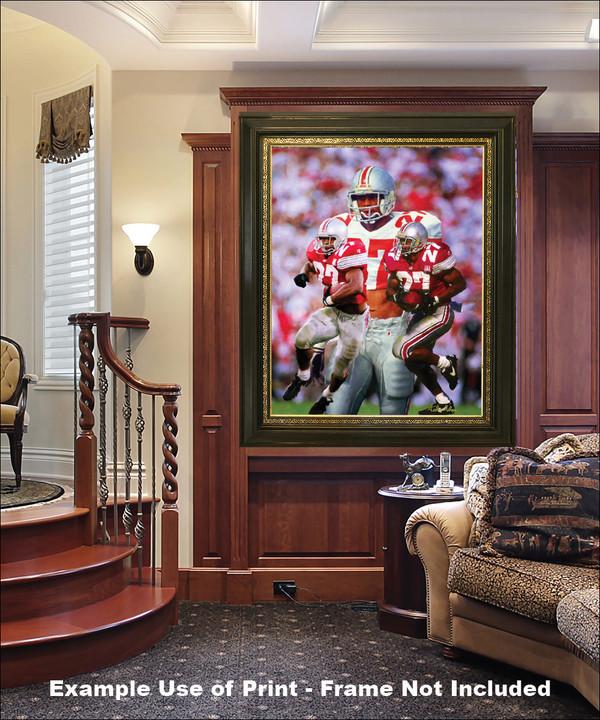 Ohio State Buckeyes Eddie George Running Back elegant frame in luxury home with wood panels