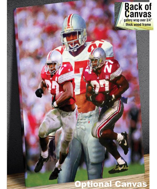 Ohio State Buckeyes Eddie George Running Back canvas frame example