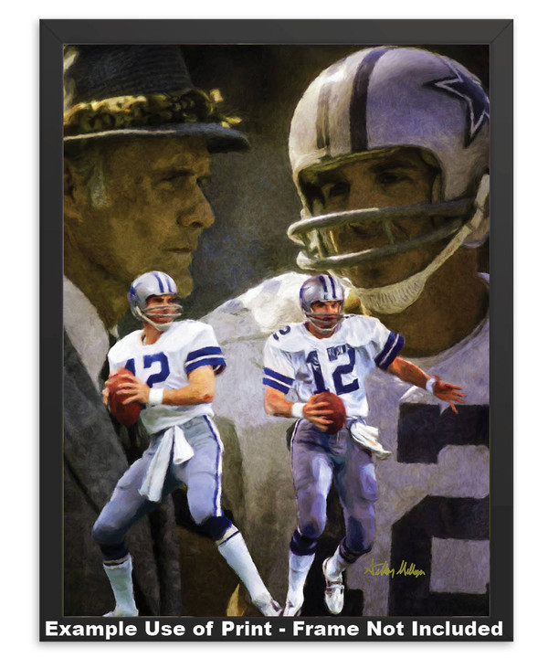 Dallas Cowboys Roger Staubach Quarterback QB NFL Football Art Print in simple black frame