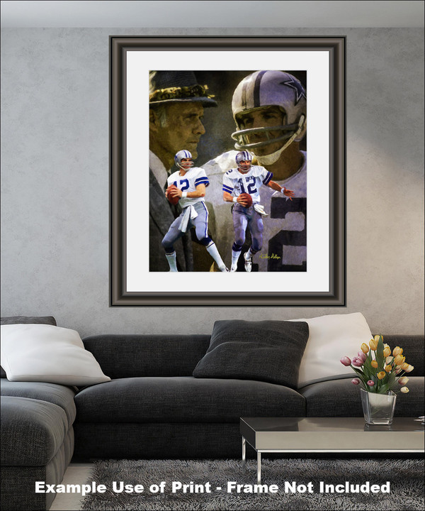 Dallas Cowboys Roger Staubach Quarterback QB NFL Football Art Print matted and framed on wall in modern living room