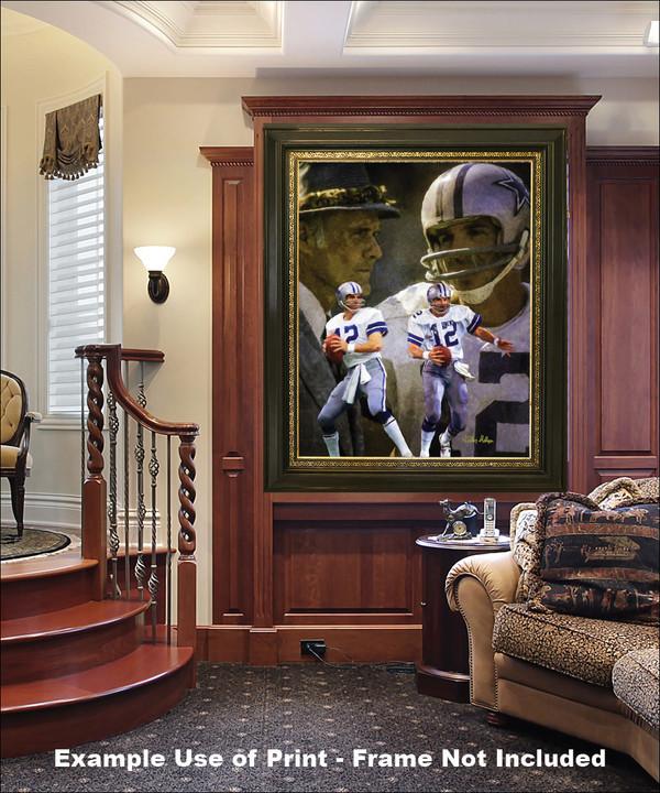 Dallas Cowboys Roger Staubach Quarterback QB NFL Football Art Print elegant frame in luxury home with wood panels