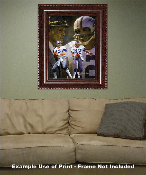 Dallas Cowboys Roger Staubach Quarterback QB NFL Football Art Print framed on wall with sofa