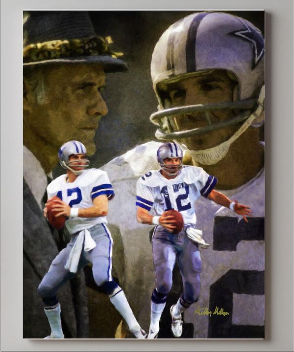 Dallas Cowboys Roger Staubach Quarterback QB NFL Football Art Print canvas frame on wall