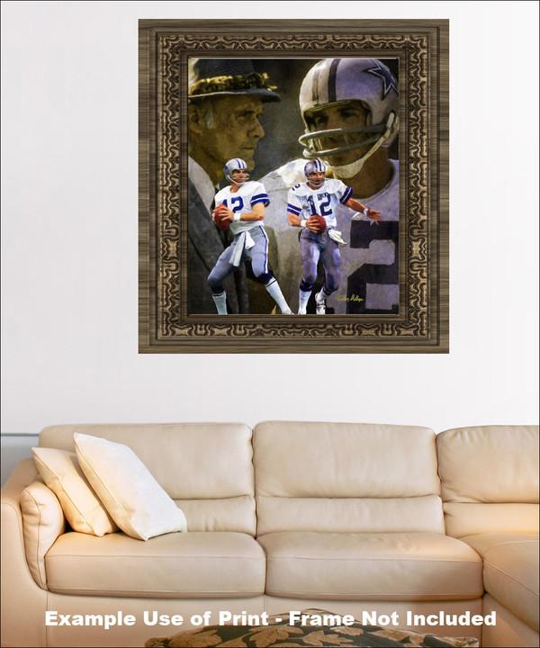 Dallas Cowboys Roger Staubach Quarterback QB NFL Football Art Print framed on wall