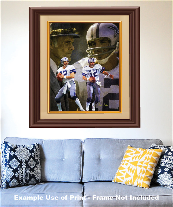 Dallas Cowboys Roger Staubach Quarterback QB NFL Football Art Print matted and framed on the wall with blue couch