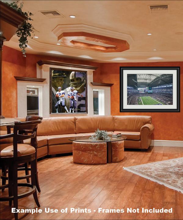 Dallas Cowboys Roger Staubach Quarterback QB NFL Football Art Print framed on wall in family game room