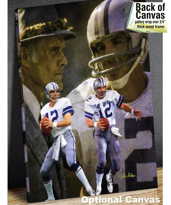 Dallas Cowboys Roger Staubach Quarterback QB NFL Football Art Print canvas frame example