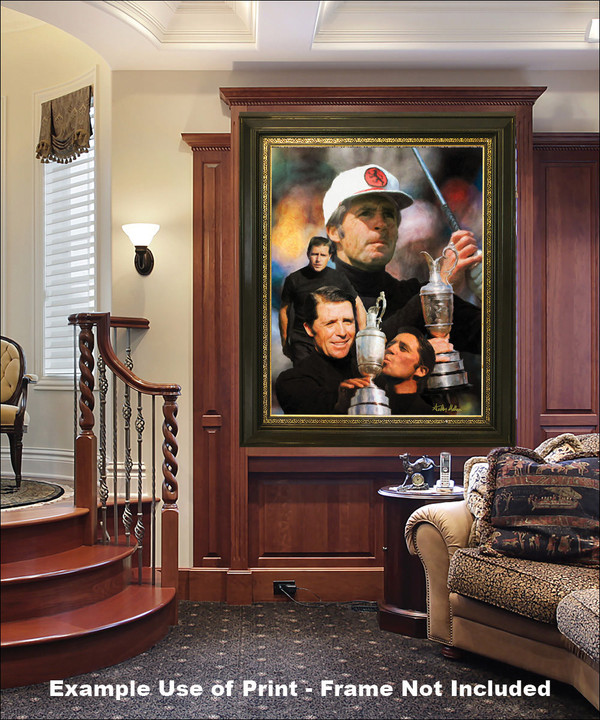 Gary Player Masters and Open Champion PGA Golf Professional Golfer Art Print 2520 8x10-48x36 elegant frame in luxury home with wood panels