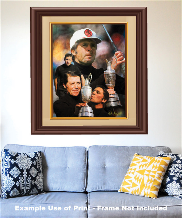 Gary Player Masters and Open Champion PGA Golf Professional Golfer Art Print 2520 8x10-48x36 matted and framed on the wall with blue couch