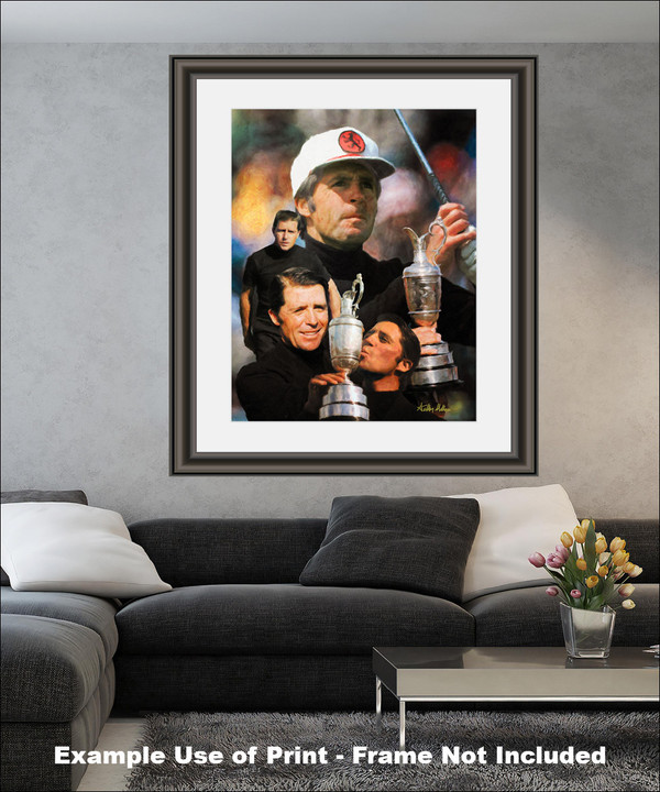 Gary Player Masters and Open Champion PGA Golf Professional Golfer Art Print 2520 8x10-48x36 matted and framed on wall in modern living room