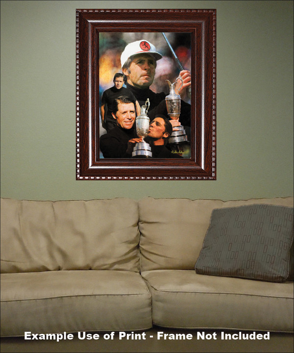 Gary Player Masters and Open Champion PGA Golf Professional Golfer Art Print 2520 8x10-48x36 framed on wall with sofa