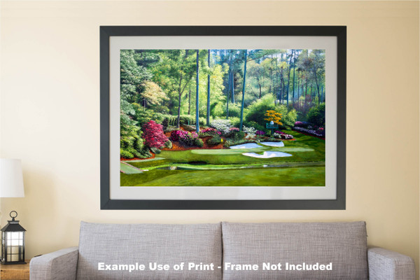 Augusta National Golf Club, Masters Tournament Hole 12 Golden Bell golf course oil painting 2550  Art Print matted and framed over sofa example
