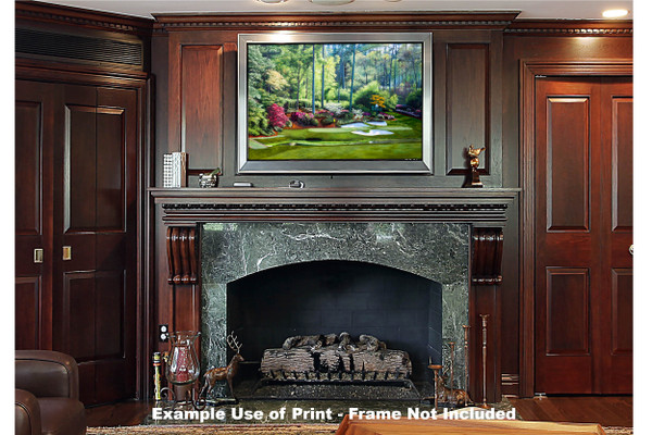 Augusta National Golf Club, Masters Tournament Hole 12 Golden Bell golf course oil painting 2550  Art Print framed print over fireplace example