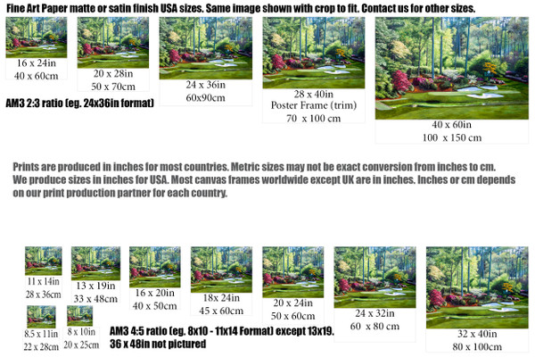 Augusta National Golf Club, Masters Tournament Hole 12 Golden Bell golf course oil painting 2550  Art Print size comparisons for common sizes