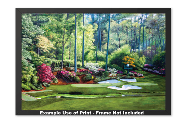 Augusta National Golf Club, Masters Tournament Hole 12 Golden Bell golf course oil painting 2550  Art Print framed example