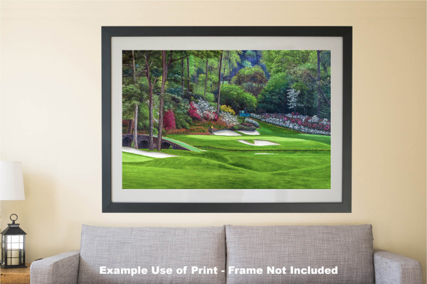 Augusta National Golf Club, Masters Tournament Hole 12 Golden Bell golf course oil painting 2560  Art Print matted and framed over sofa example
