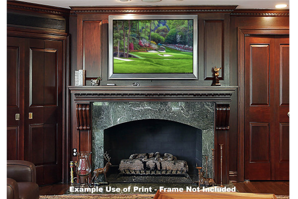 Augusta National Golf Club, Masters Tournament Hole 12 Golden Bell golf course oil painting 2560  Art Print framed print over fireplace example