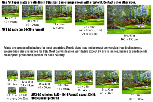 Augusta National Golf Club, Masters Tournament Hole 12 Golden Bell golf course oil painting 2570 Art Print size comparisons for common sizes