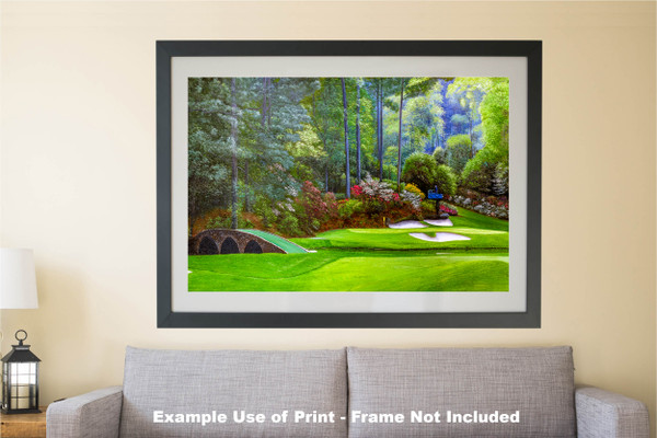 Augusta National Golf Club, Masters Tournament Hole 12 Golden Bell golf course oil painting 2570 Art Print matted and framed over sofa example