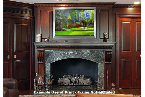 Augusta National Golf Club, Masters Tournament Hole 12 Golden Bell golf course oil painting 2570 Art Print framed print over fireplace example