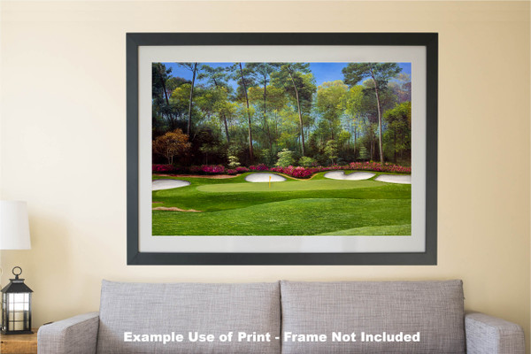 Augusta National Golf Club Masters Tournament Hole 13 Magnolia golf course oil painting art print 2550 Art Print matted and framed over sofa example