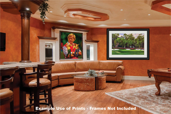 Augusta National Golf Club Masters Tournament Hole 13 Magnolia golf course oil painting art print 2560 Art Print game room bar example
