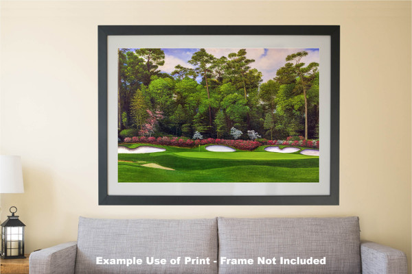 Augusta National Golf Club Masters Tournament Hole 13 Magnolia golf course oil painting art print 2560 Art Print matted and framed over sofa example
