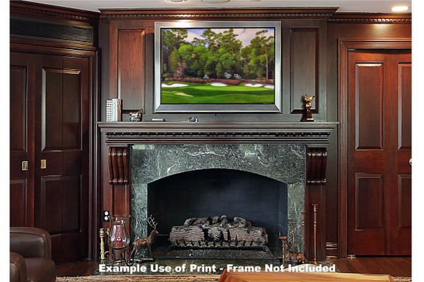 Augusta National Golf Club Masters Tournament Hole 13 Magnolia golf course oil painting art print 2560 Art Print framed print over fireplace example