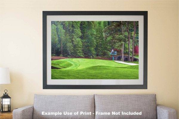 Augusta National Golf Club Masters Tournament Hole 11 White Dogwood golf course oil painting art print 2550 Art Print matted and framed over sofa example