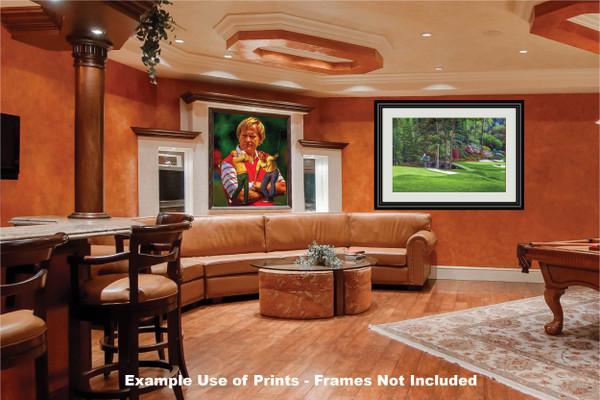 Augusta National Golf Club Masters Amen Corner Holes 11 12 Golden Bell Art golf course oil painting art print 2580 Art Print game room bar example