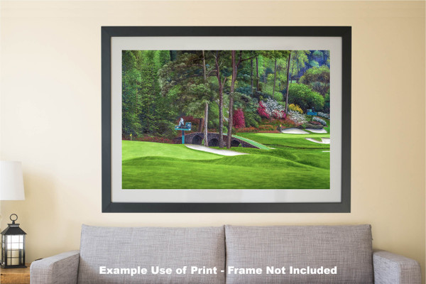 Augusta National Golf Club Masters Amen Corner Holes 11 12 Golden Bell Art golf course oil painting art print 2580 Art Print matted and framed over sofa example