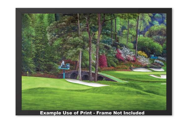 Augusta National Golf Club Masters Amen Corner Holes 11 12 Golden Bell Art golf course oil painting art print 2580 Art Print framed example