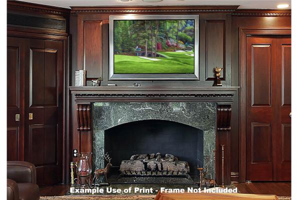 Augusta National Golf Club Masters Amen Corner Holes 11 12 Golden Bell Art golf course oil painting art print 2580 Art Print framed print over fireplace example