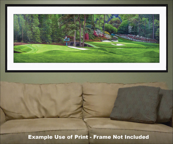 Augusta National Golf Club Masters Amen Corner Holes 11 White Dogwood 12 Golden Bell Art golf course oil painting art print 3000 matted and framed panorama artwork on the wall of living room