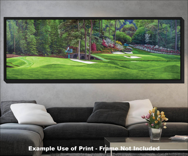 Augusta National Golf Club Masters Amen Corner Holes 11 White Dogwood 12 Golden Bell Art golf course oil painting art print 3000 black frame living room scene