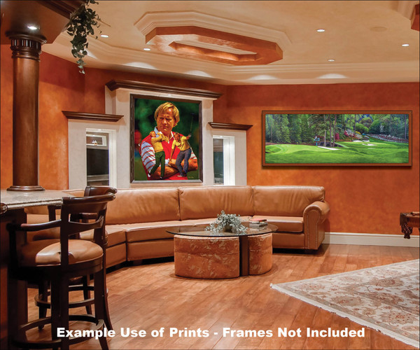 Augusta National Golf Club Masters Amen Corner Holes 11 White Dogwood 12 Golden Bell Art golf course oil painting art print 3000 framed panoramic artwork in family game room bar