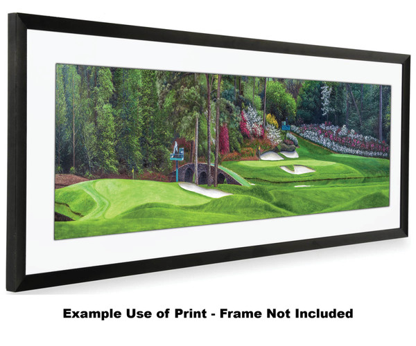 Augusta National Golf Club Masters Amen Corner Holes 11 White Dogwood 12 Golden Bell Art golf course oil painting art print 3000 16x40 white mat black frame on wide panorama image f