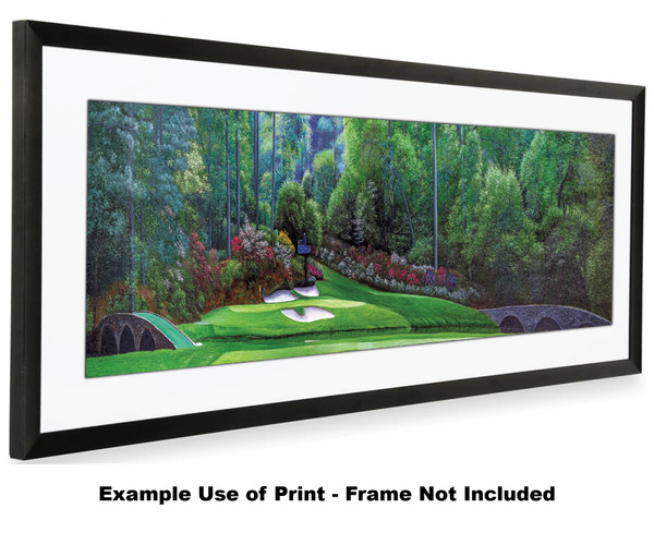 Augusta National Golf Club Masters Amen Corner Hole 12 Golden Bell Art golf course oil painting art print 3000 16x40 white mat black frame on wide panorama image
