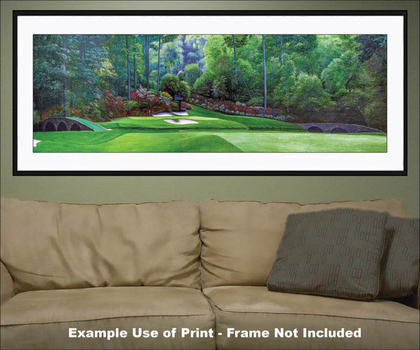 Augusta National Golf Club Masters Amen Corner Hole 12 Golden Bell Art golf course oil painting art print 3000 matted and framed panorama artwork on the wall of living room