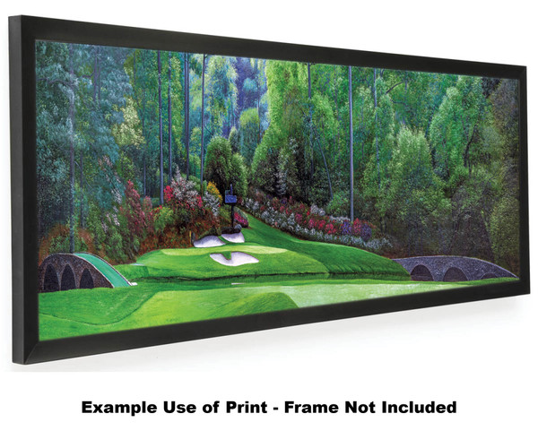 Augusta National Golf Club Masters Amen Corner Hole 12 Golden Bell Art golf course oil painting art print 3000 12x36 black frame on wide panorama artwork