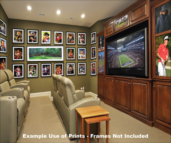 Augusta National Golf Club Masters Amen Corner Hole 12 Golden Bell Art golf course oil painting art print 3000 panorama with matting and framing on wall of fame in media room