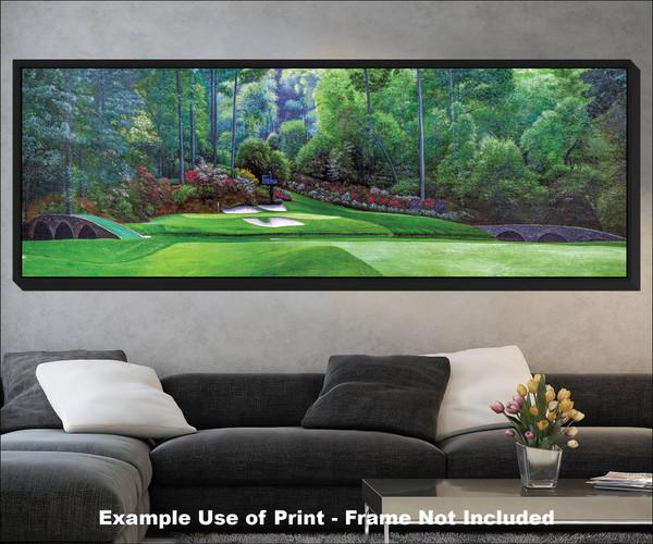 Augusta National Golf Club Masters Amen Corner Hole 12 Golden Bell Art golf course oil painting art print 3000 black frame living room scene