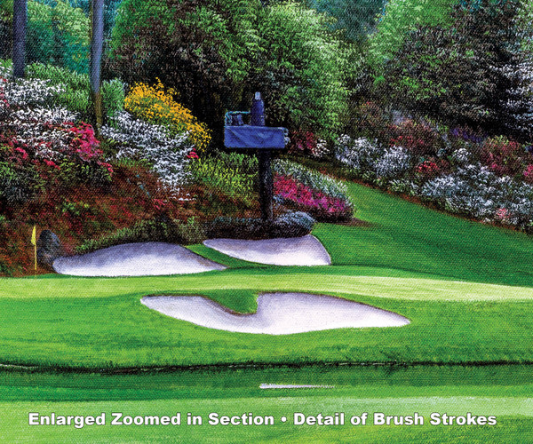 Augusta National Golf Club Masters Amen Corner Hole 12 Golden Bell Art golf course oil painting art print 3000  zoomed in detail artwork