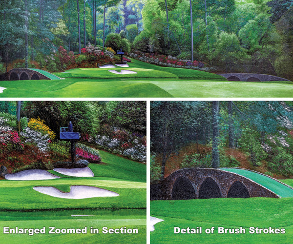 Augusta National Golf Club Masters Amen Corner Hole 12 Golden Bell Art golf course oil painting art print 3000 full view of artwork plus two zoomed in focal points to show brush detail on canvas