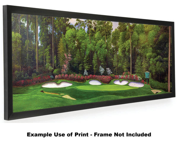 Augusta National Golf Club Masters Amen Corner Hole 13 Magnolia Art golf course oil painting art print 3000 12x36 black frame on wide panorama artwork